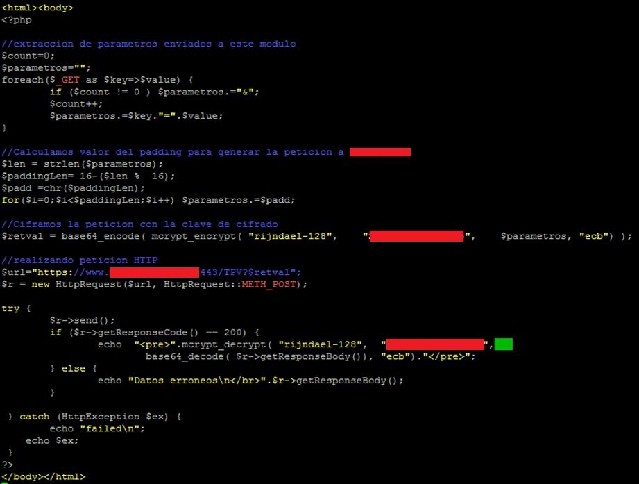 interceptacion de trafico AES CBC con PHP